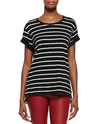 Feeder-Stripe Short-Sleeve Top & Side-Zip Leather Leggings