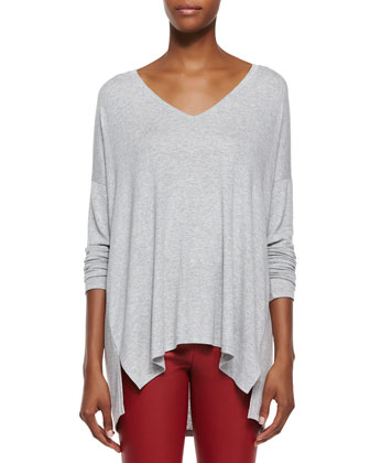 Luxe V-Neck Draped Knit Tee & Side-Zip Leather Leggings