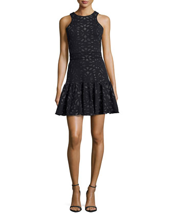 Printed Flippy Skirt Dress, Black