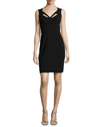 Ponte Dress with Cutouts, Black