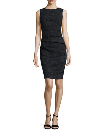Sleeveless Ponte Tuck Dress, Black