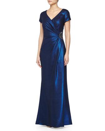 Gathered-Waist Cap-Sleeve Gown