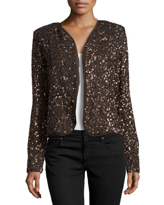 Long-Sleeve Metallic Jacket, Bronze