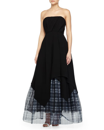 Bustier Layered-Plaid-Tulle Gown