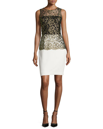 Lacie Embroidered Two-Tone Peplum Dress