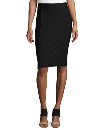 Two-Tone Pencil Skirt, Black Multi