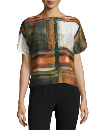 Shauna Short-Sleeve Abstract-Print Top, Masala Multi