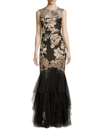 Metallic-Embroidered Tulle Gown, Copper