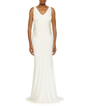 Sleeveless V-Neck Cowl-Back Gown