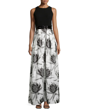 Sleeveless Solid-Top Floral-Skirt Combo Gown