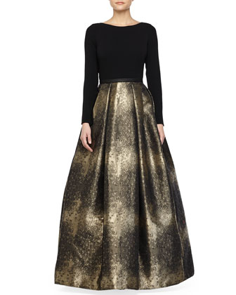 Jacquard-Skirt Long-Sleeve Gown