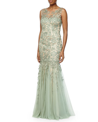 Lace Tulle-Skirt Mermaid Gown