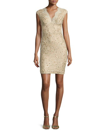 Cap-Sleeve Embellished Lace Sheath Dress
