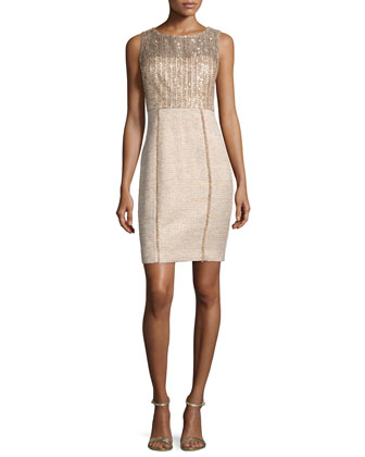 Sleeveless Sequined Tweed Sheath Dress