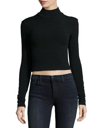 Garrison Cropped Mock-Neck Top & Stora Floral-Jacquard Pleated Skirt