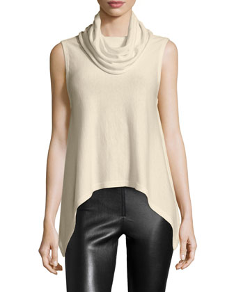 Arched-Hem Sleeveless Knit Top