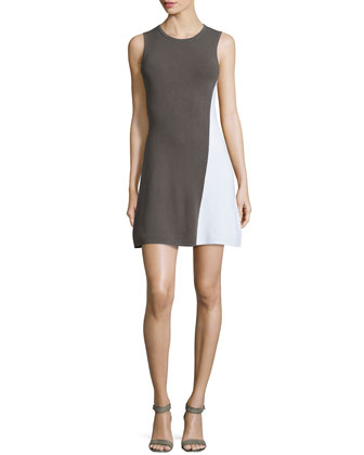 Branteen Prosecco Sleeveless Dress, Army/White