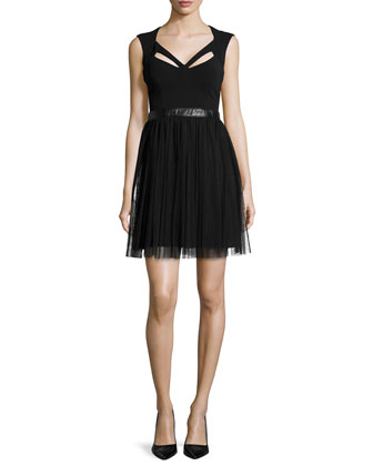 Sleeveless Combo Dress w/Cutouts, Black