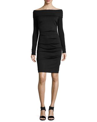 Off-The-Shoulder Ponte Dress, Black