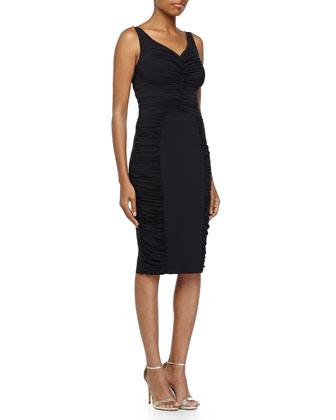 Loren Sleeveless Ruched Cocktail Dress