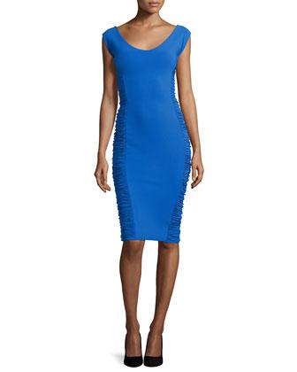 Lina Shirred-Side Sheath Dress, Blue