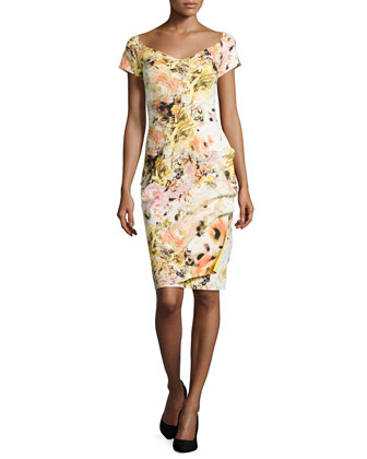 Claretta Floral-Print Ruched Dress, Yellow