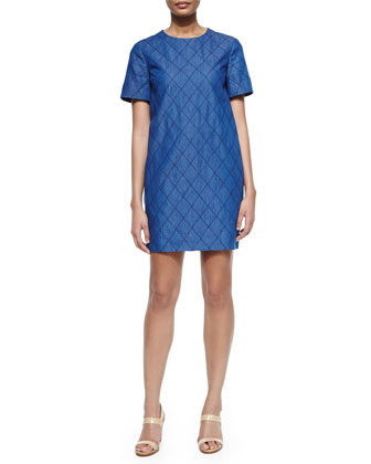 short-sleeve quilted chambray dress, darkest blue