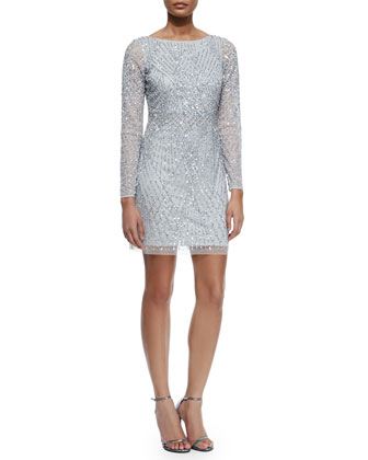Embellished Long-Sleeve Boatneck Cocktail Dress, Silver