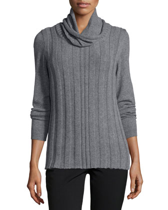 Long-Sleeve Cowl-Neck Cashmere Sweater, Nickel Melange