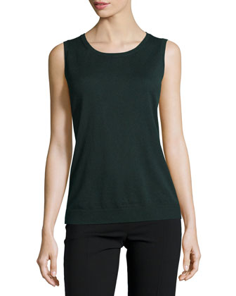 Round-Neck Slim-Fit Tank Top, Cedar