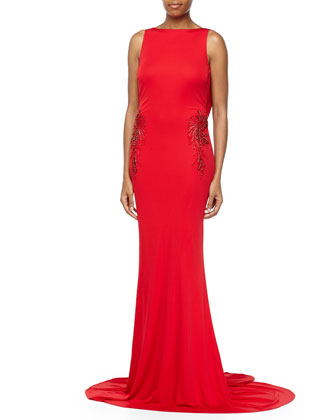 Beaded Draped-Back Evening Gown