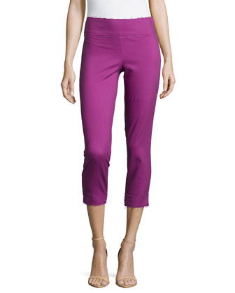 Slim-Leg Cropped Pants W/Raw-Edge Hem, Sherbert