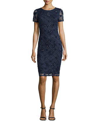 Short-Sleeve Sequined Windowpane Dress