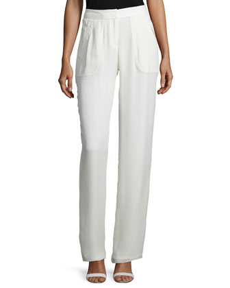 High-Waist Straight-Leg Pants, Ivory