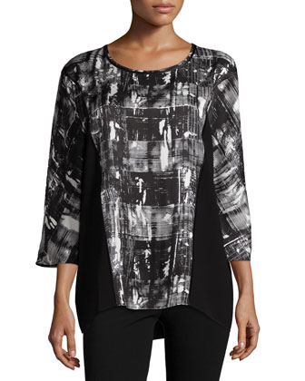 Rayna 3/4-Sleeve Round-Neck Blouse, Black Multi