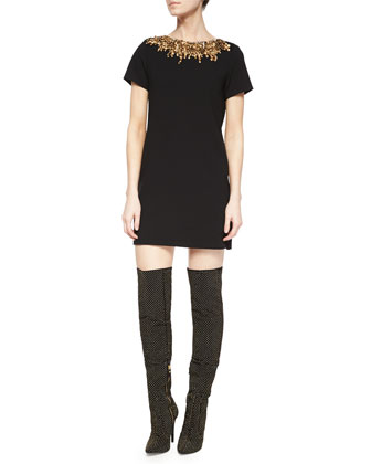 Inara Embroidered Short-Sleeve Dress