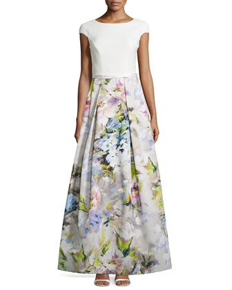 Cap-Sleeve Floral Pleated-Skirt Gown