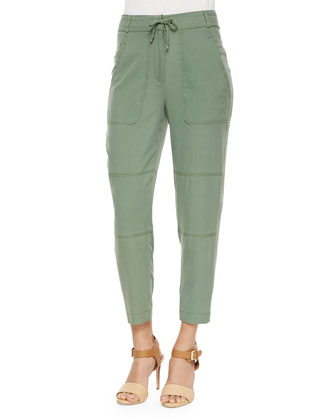 Toledo Drawstring Ankle Pants, Military Green