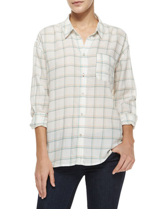 Carine Windowpane Poplin Shirt, Sherbet