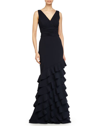 Dorina Sleeveless Ruffled Gown