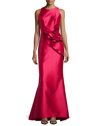 Side-Peplum Sleeveless Gown, Lipstick