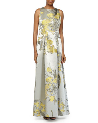 Floral Brocade Sleeveless Gown