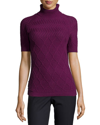 Short-Sleeve Turtleneck Aran Sweater, Berry