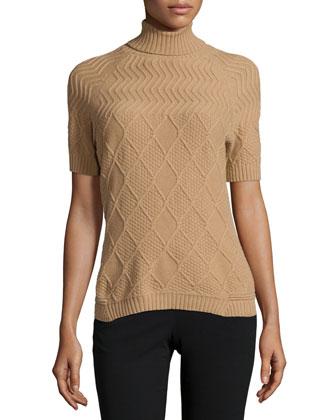 Short-Sleeve Aran-Stitch Sweater, Cammello