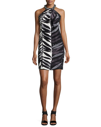 Animal-Print Beaded-Neck Toga Dress