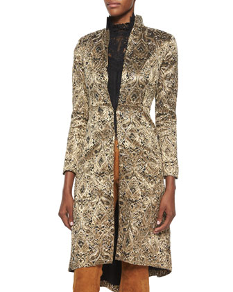 Vali Metallic Jacquard Coat, Katarina Lace/Chiffon Boxy Top & Suede Flared ...