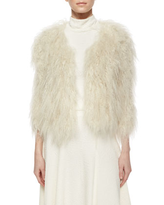 Fawn Lamb Fur Jacket, Giorgia Textured Mock-Neck Top & Kimi Hammered Crepe ...