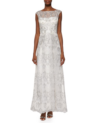 Sleeveless Metallic Embroidered Organza Gown