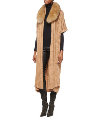 Klay Long Cable-Knit Cardigan W/Detachable Fur Collar, Sleeveless Cashmere ...