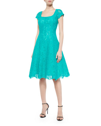 Short-Sleeve Lace Fit-and-Flare Dress, Peacock